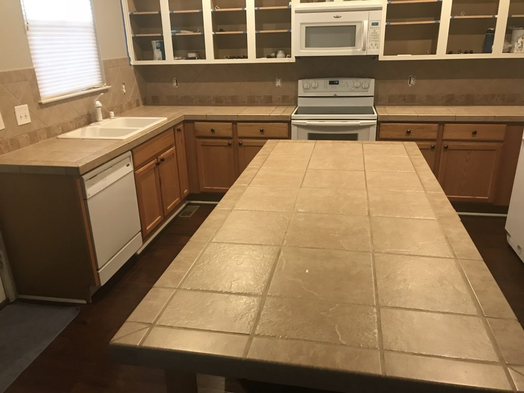 beige tile counter top